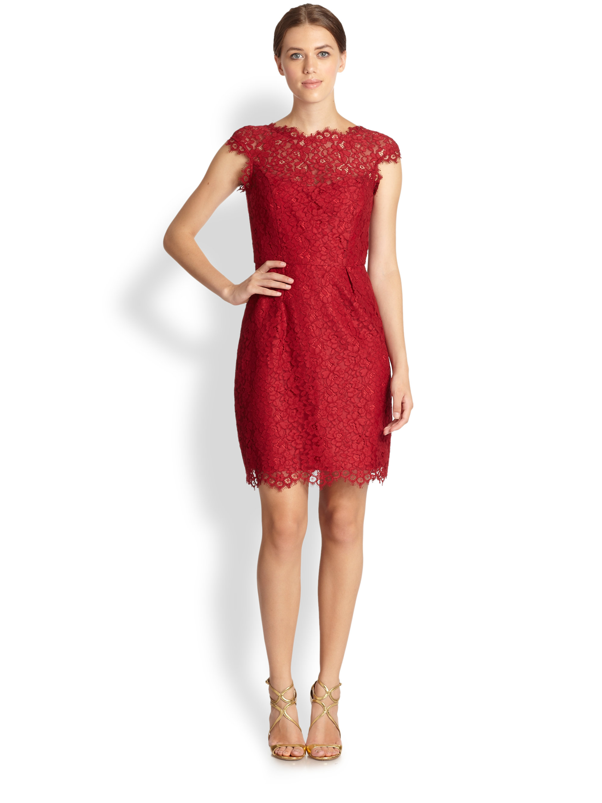 Shoshanna Lace Olivia Dress in Red  Lyst