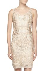 Sue Wong Sleeveless Vneck Passementerie Dress Beige - Lyst