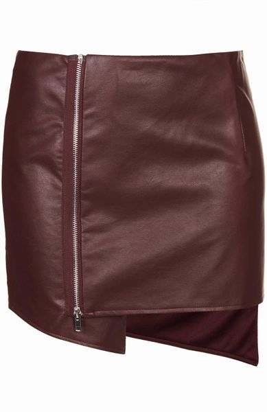 topshop gael maroon faux leather wrap skirt by goldie in