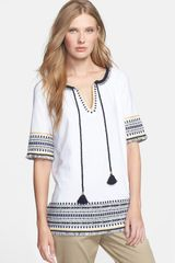 Tory Burch Whitney Cotton Tunic Top - Lyst