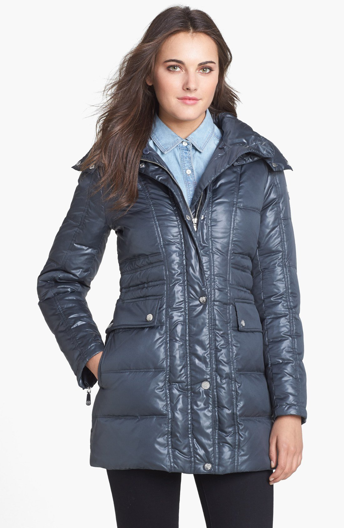 Vince Camuto Faux Fur Collar Down Feather Jacket In Gray