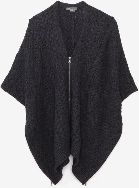 Vince Cable Knit Sleeveless Zip Poncho In Gray Charcoal