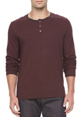 Vince Long Sleeve Striped Henley  - Lyst