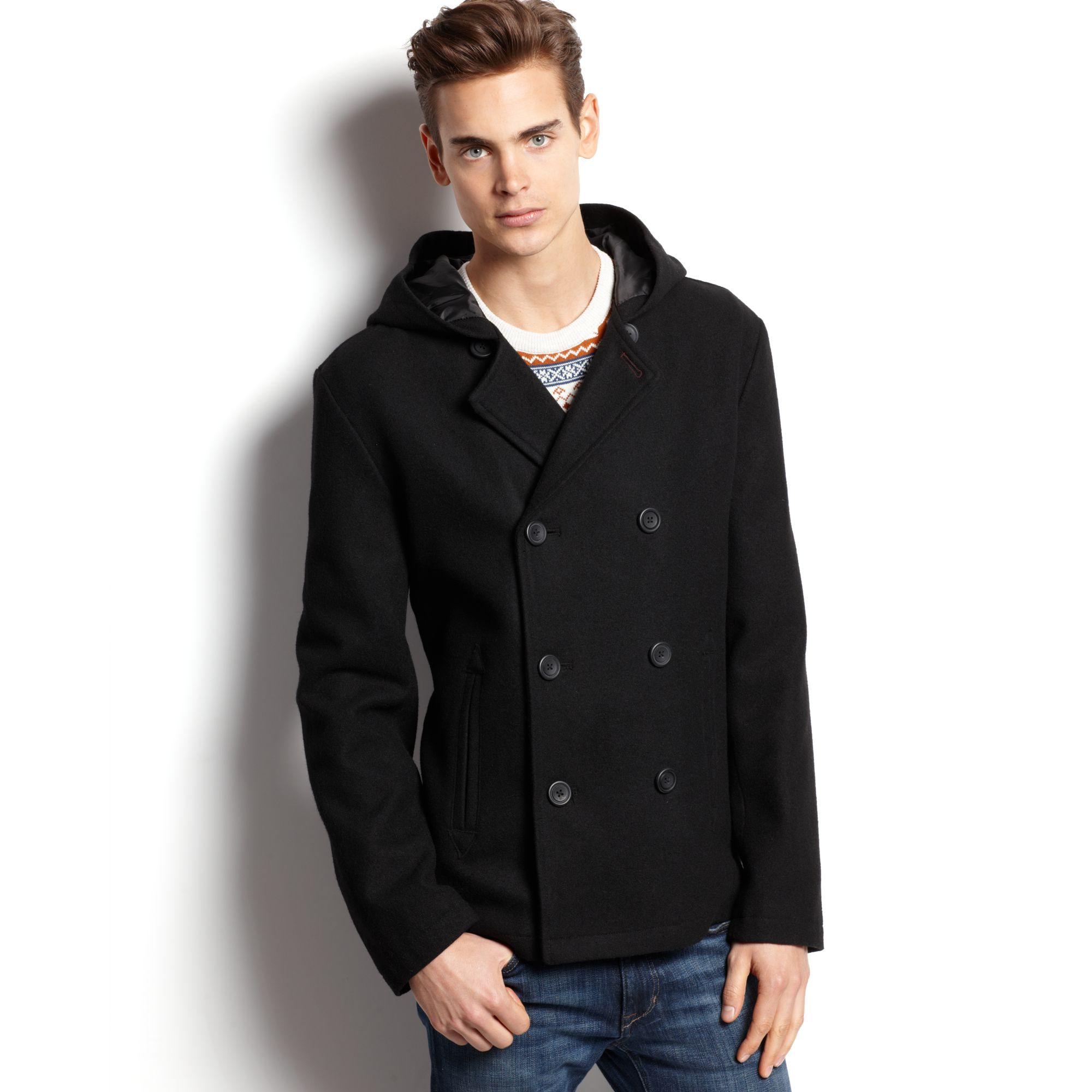 Mens black peacoat with hood