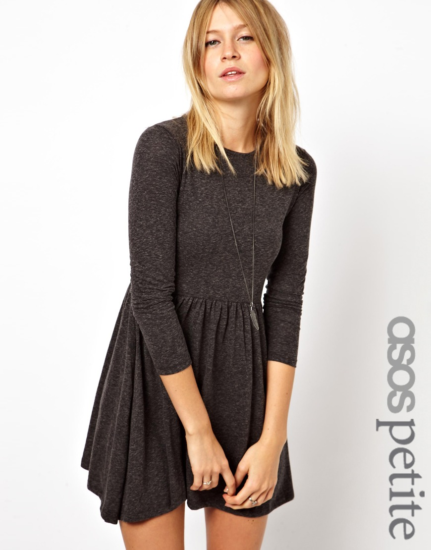 Asos Exclusive Textured Skater Dress With Long Sleeves in Black   Lyst
