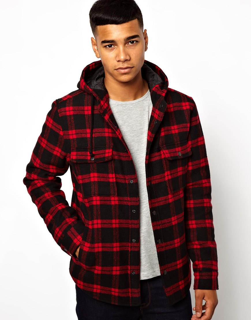 Lyst Asos Wool Hooded Checked Over Shirt In Black For Men
