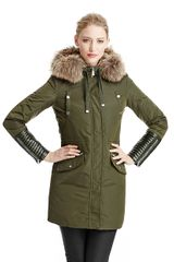 BCBGMAXAZRIA Parka with Faux Leather Cuffs