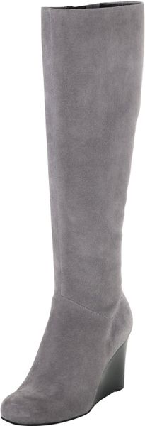 cole haan cora suede wedge boot iron in gray iron