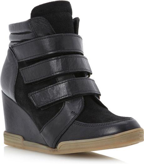 dune lacota 3 velcro wedge boots in black black