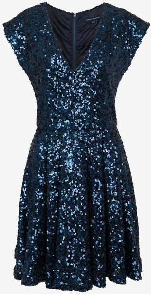 French Connection Spectacular Sparkle Cap Sleeve Dress - Lyst