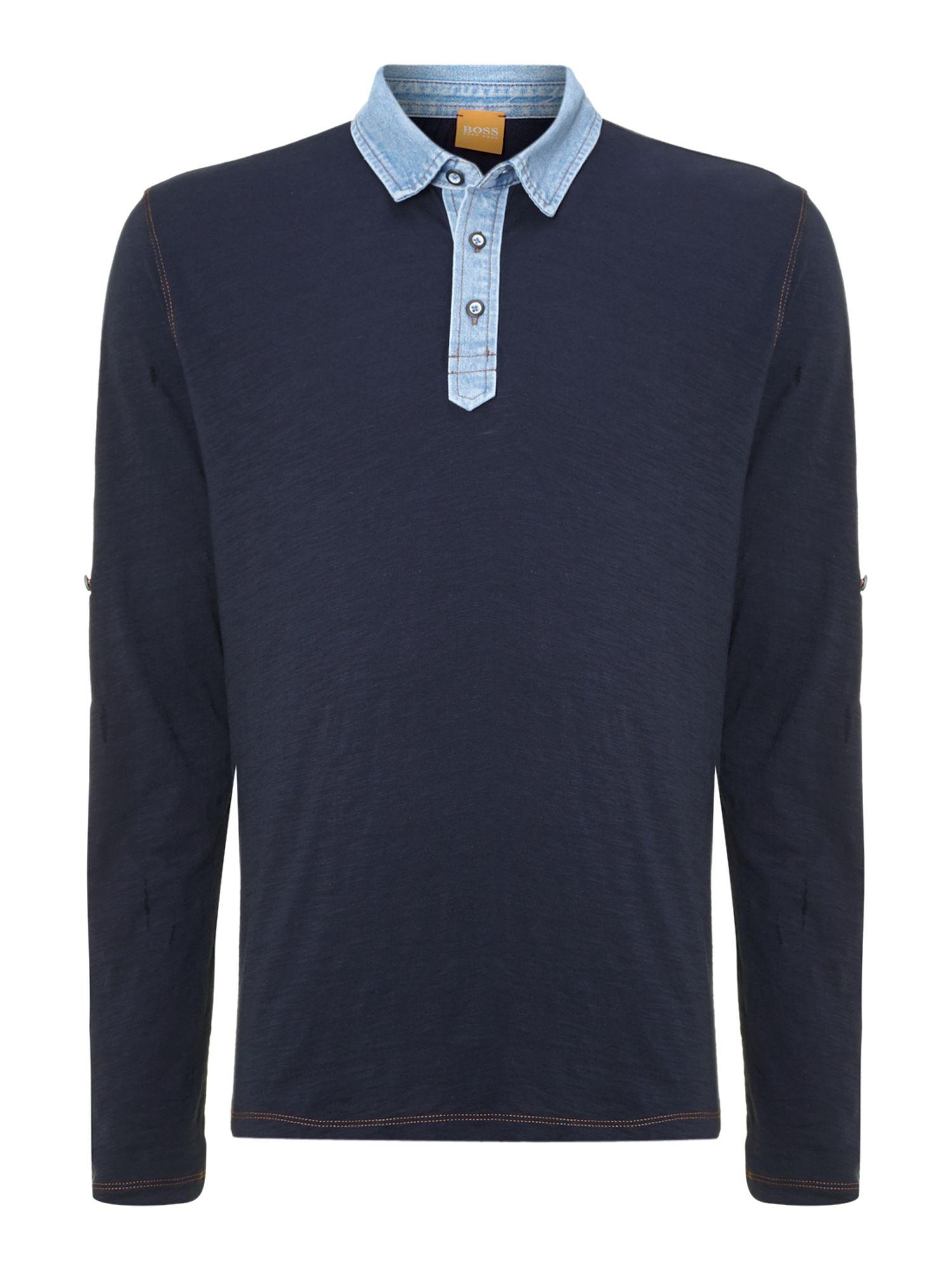 Hugo boss roll sleeve with denim collar polo in blue for for Hugo boss dress shirt review