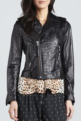 Joie Crocodile Embossed Motorcycle Jacket - Lyst