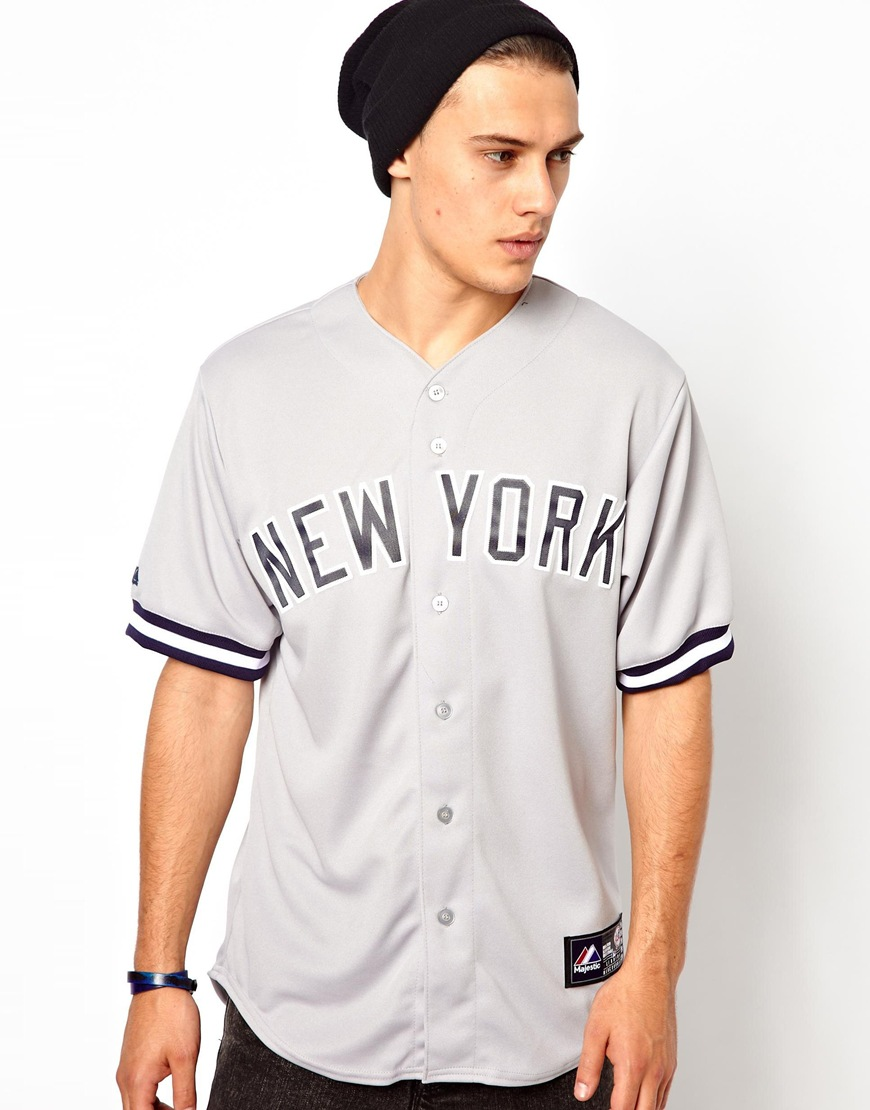 Lyst - Majestic Ny Yankees Baseball Jersey in Gray for Men 1e660a314f2