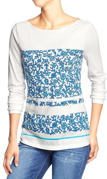 Old Navy Floral Print Boat Neck Tees In White Blue Lyst