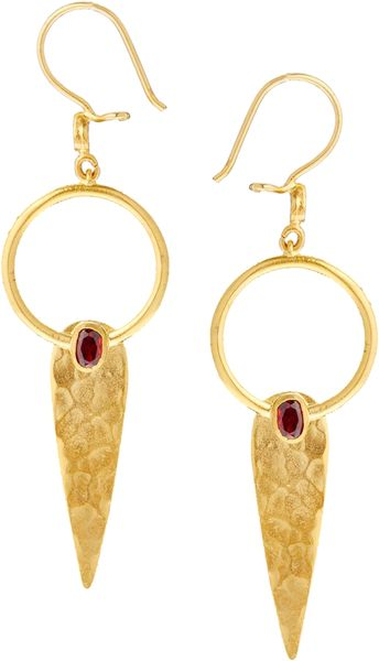 Asos Ottoman Hands Small One Stone Pendant Earrings in Gold (Red)