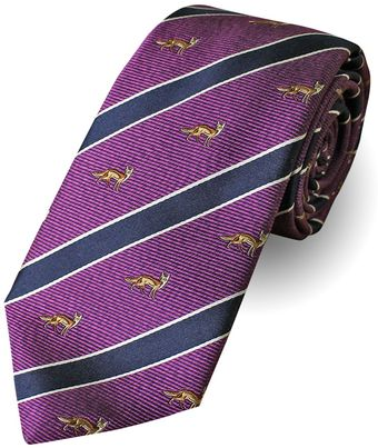 Paul Costelloe Purple House Fox Motif Tie - Lyst