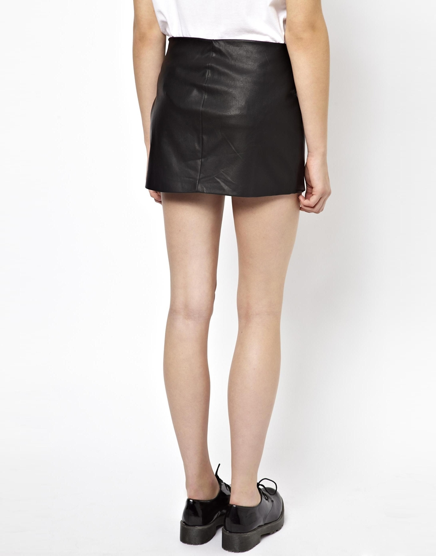 attractive designs new selection reasonably priced Pull&Bear Pullbear Leather Look Zip Skirt in Black - Lyst