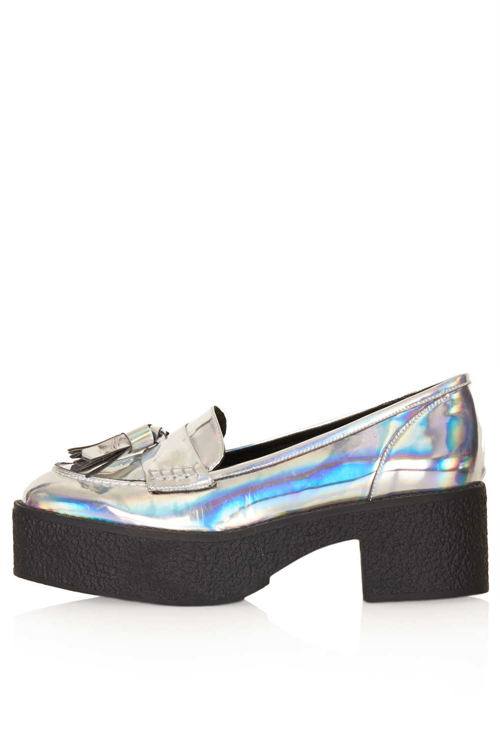 Lyst Topshop Jolene Chunky Loafer In Metallic