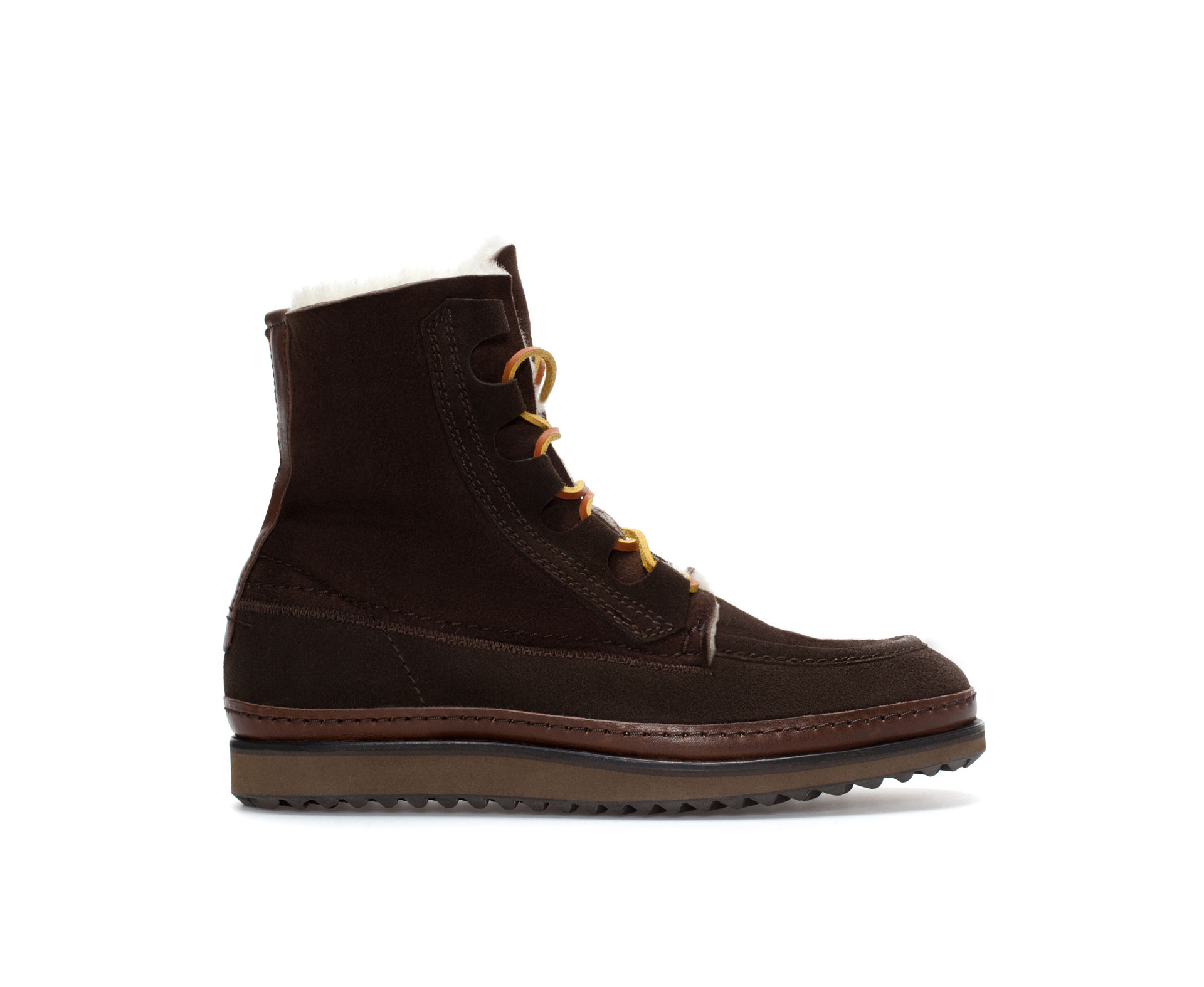 zara lined wedge boot in brown for lyst