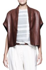 Brunello Cucinelli Leather Kimono-sleeve Jacket - Lyst