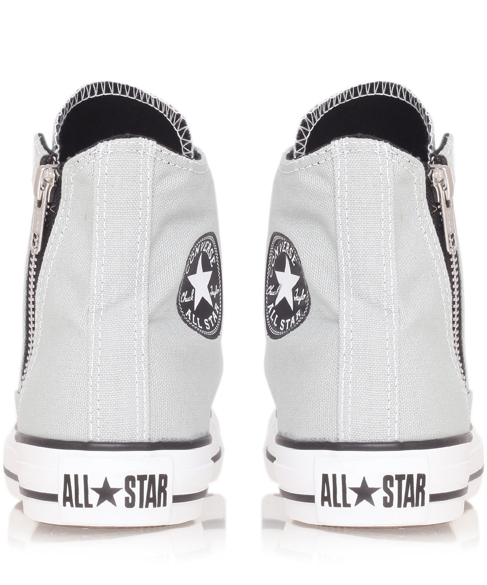 c722ce0c2f3c Lyst - Converse Grey Chuck Taylor Side Zip Hi Top Trainers in Gray