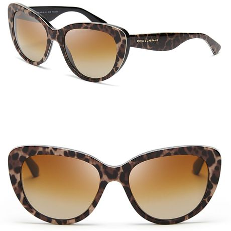 Dolce & Gabbana Leopard Cat Eye Sunglasses in Animal ...