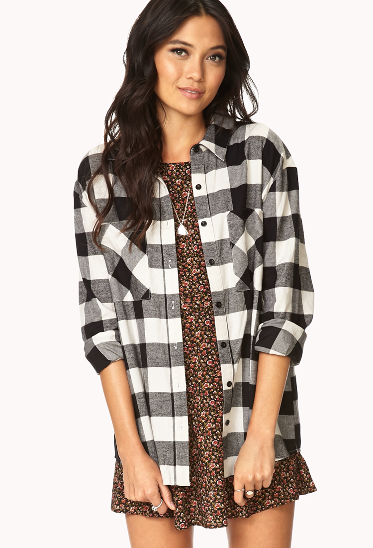 Forever 21 rustic plaid flannel in white cream black lyst for White and black flannel shirt womens