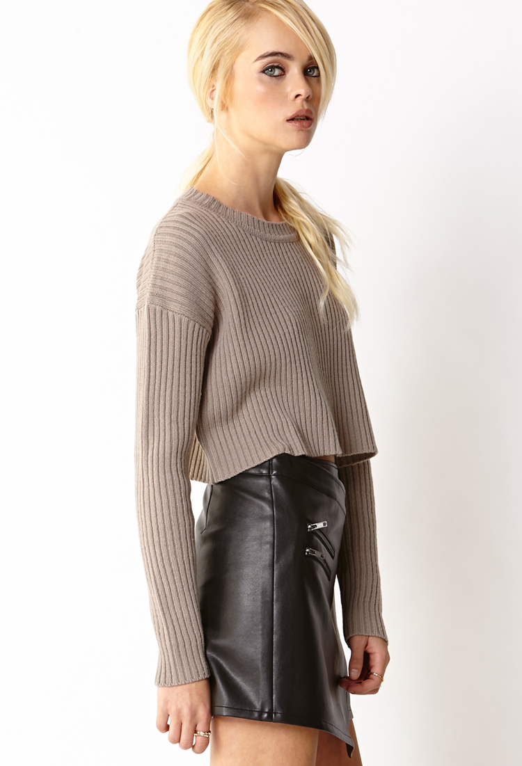 Forever 21 Must-have Cropped Sweater in Natural | Lyst