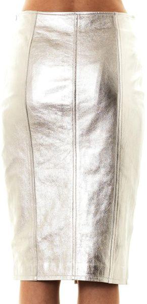 jonathan simkhai metallic leather pencil skirt in silver