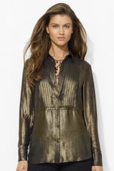 Lauren by Ralph Lauren Longsleeved Metallic Tunic - Lyst