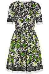 Oscar de la Renta Printed Stretch Cotton Poplin Dress - Lyst