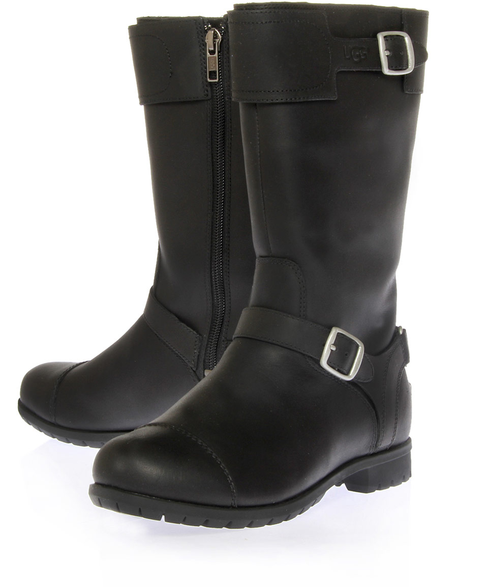 ugg black gershwin leather biker boots in black lyst. Black Bedroom Furniture Sets. Home Design Ideas