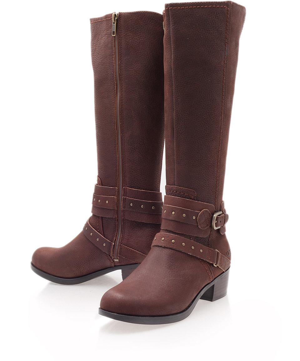 ugg brown esplanade leather kneehigh boots in brown