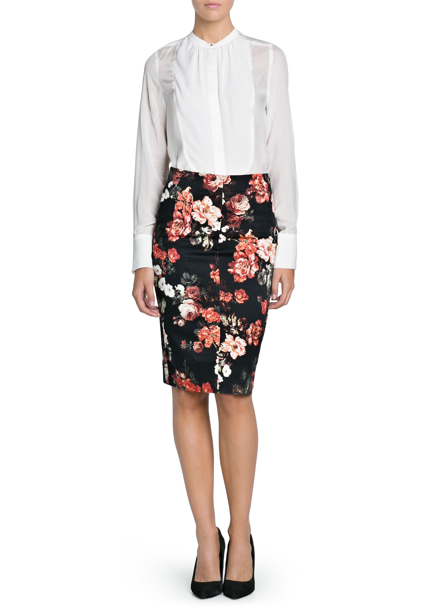 Mango Floral Print Pencil Skirt in Black | Lyst