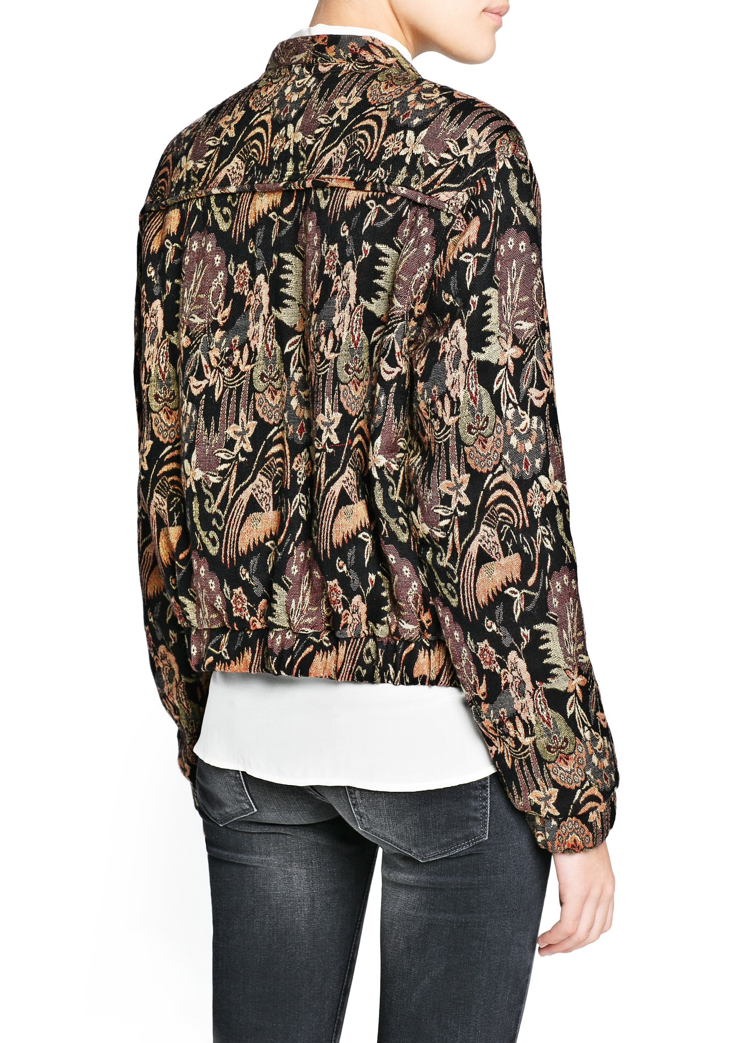 Lyst Mango Tapestry Jacquard Jacket In Black