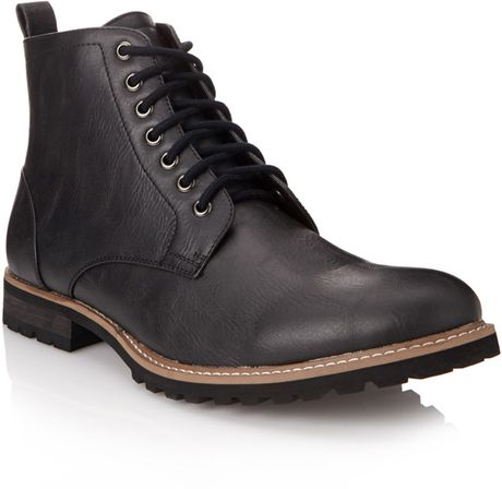 21men faux leather combat boots in black for lyst