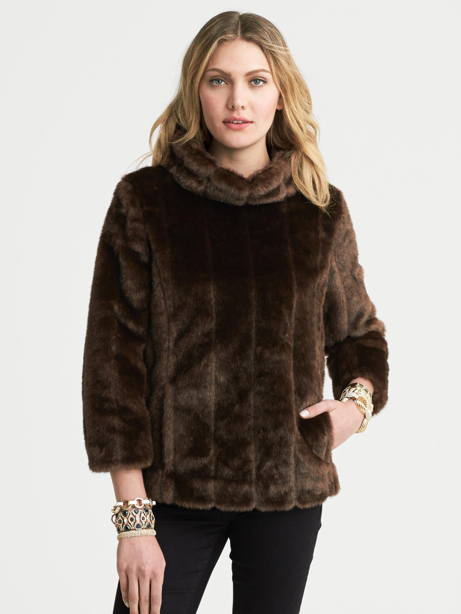 Banana Republic Faux Fur Pullover Jacket In Brown Lyst