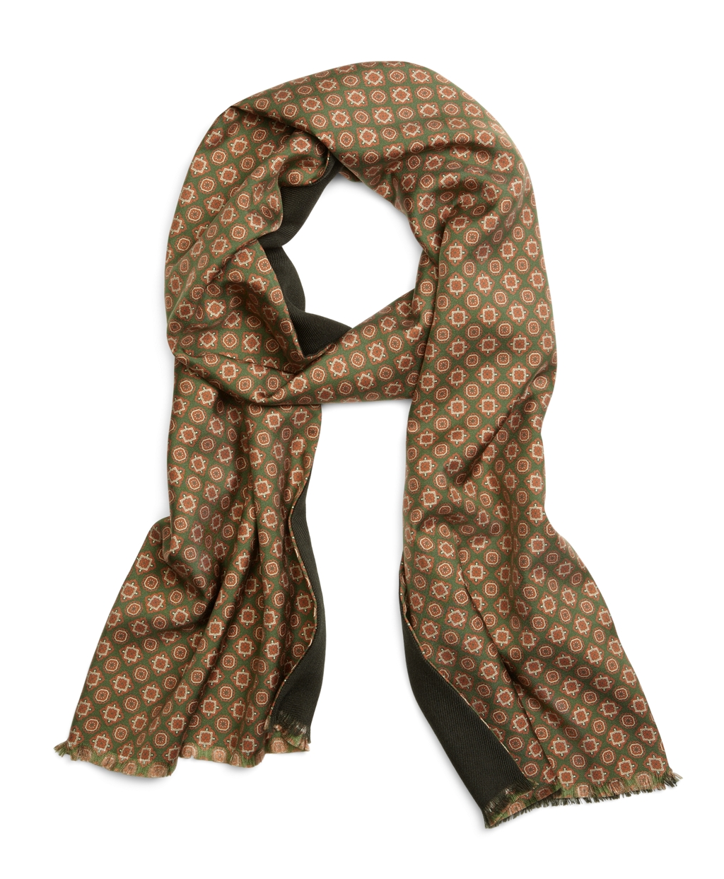 brothers and silk foulard scarf in green