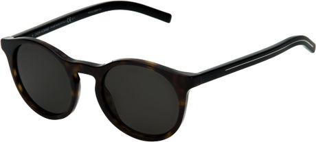 Dior Homme Round Frame Sunglasses in Black for Men (brown ...
