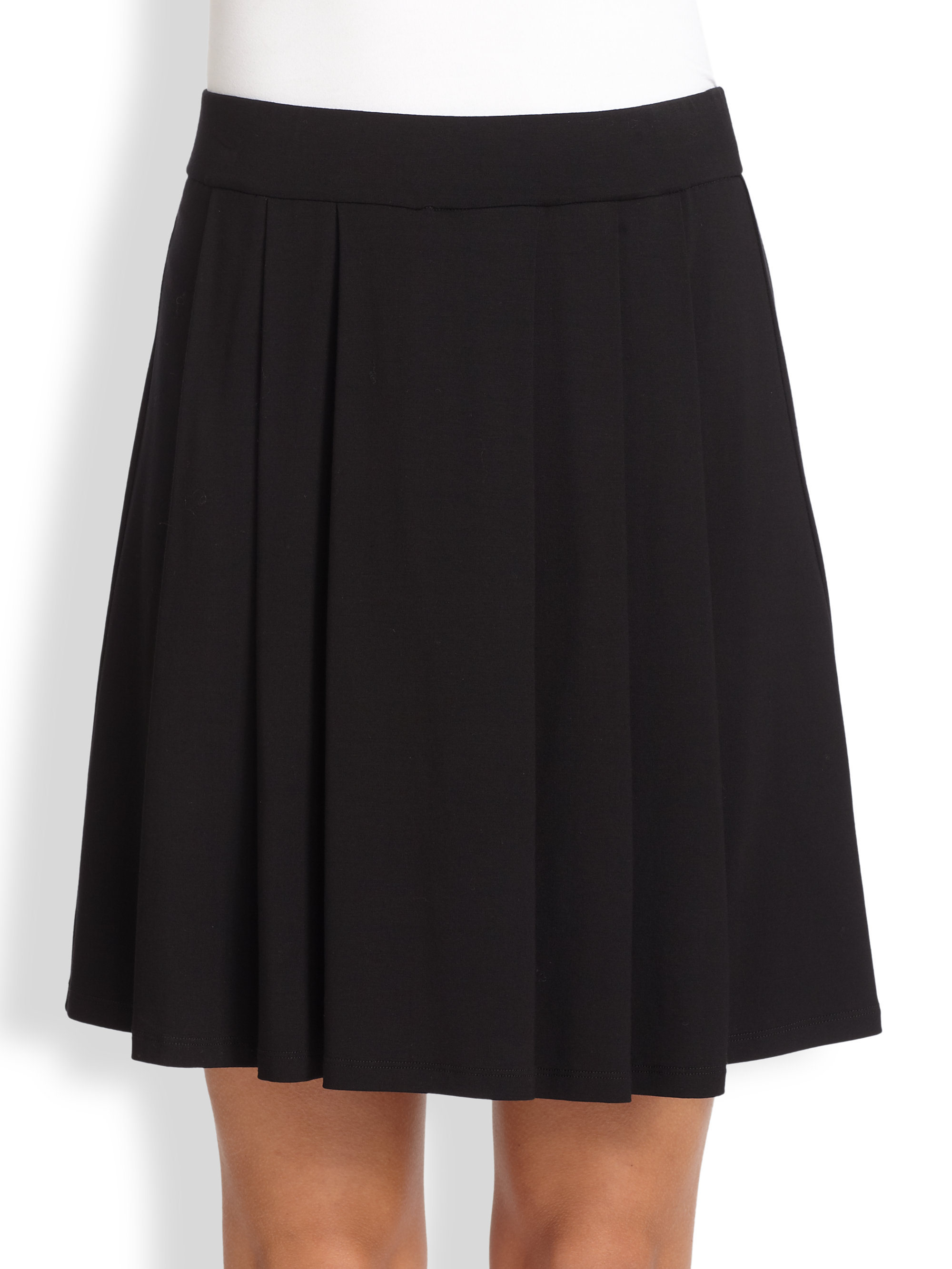 eileen fisher pleated knit skirt in black lyst