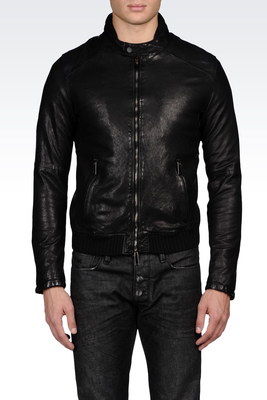 f491e9f151f Emporio Armani Nappa Leather Biker Jacket with Knit Details in Black ...