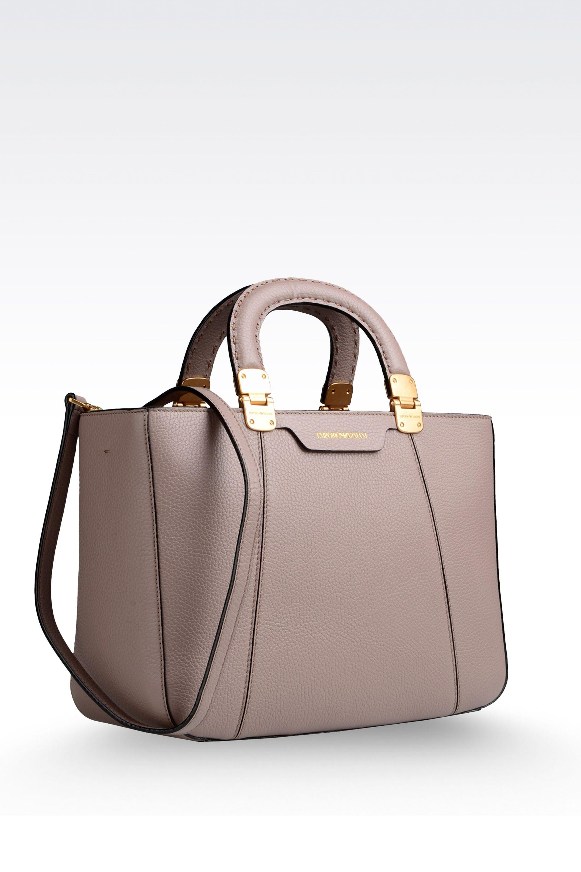 Emporio armani Calfskin Handbag with Detachable Shoulder Strap in ...