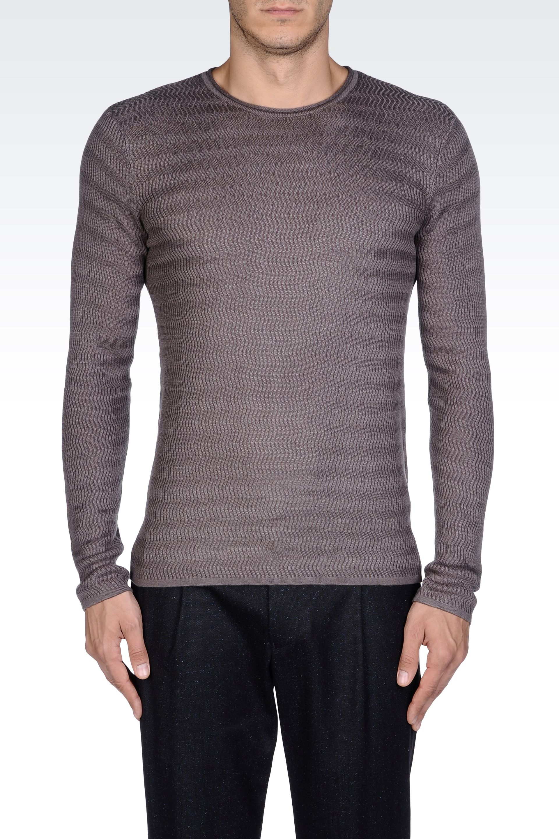 emporio armani crew neck sweater in viscose and silk in gray for men lyst. Black Bedroom Furniture Sets. Home Design Ideas