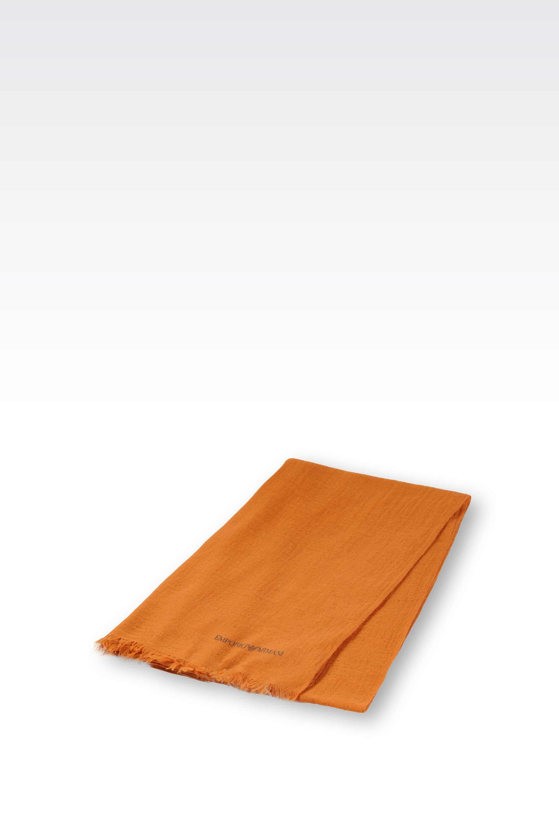 Lyst Emporio Armani Cashmere Scarf with Fringe in Orange