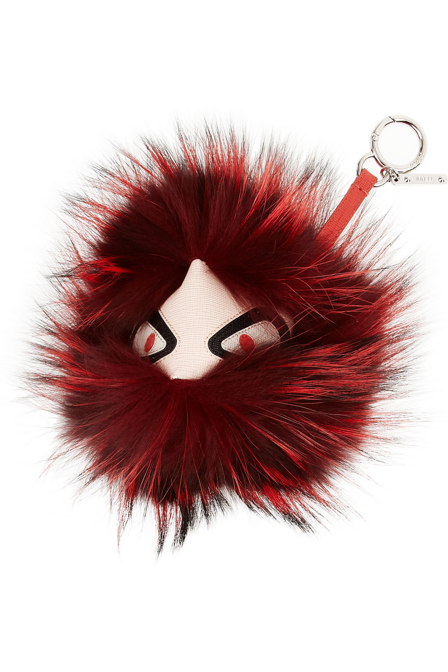 Fendi Texturedleather And Fox Monster Bag Charm In Red Lyst