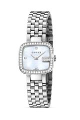 Gucci G Stainless Steel Diamond and Mother Of Pearl Watch 24mm - Lyst