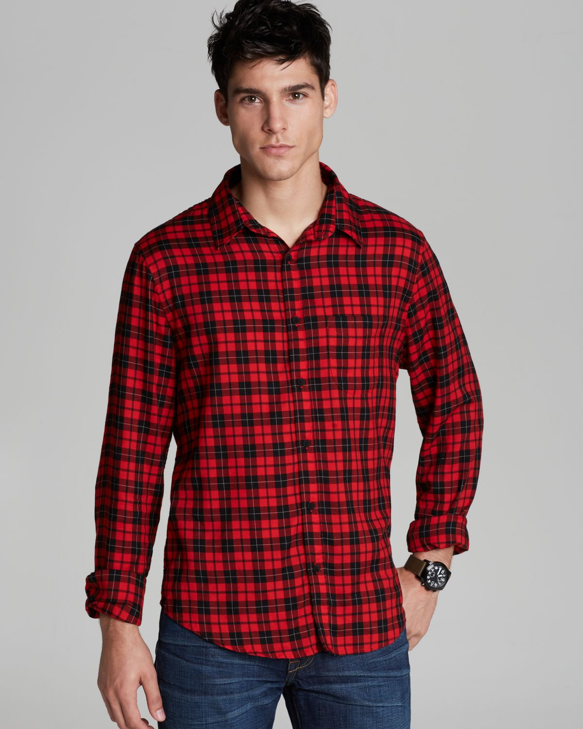 Joe 39 s jeans tartan check sport shirt classic fit in red for What is a sport shirt