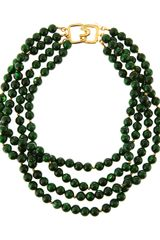 Kenneth Jay Lane Fourrow Green Bead Necklace - Lyst