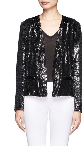 Maje Doucette Leather Trimmed Sequined Blazer - Lyst