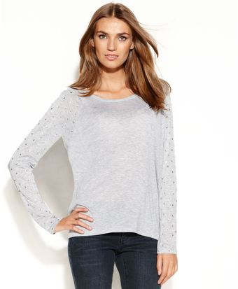 Michael Kors Long Sleeve Rhinestone Scoop Neck Top - Lyst